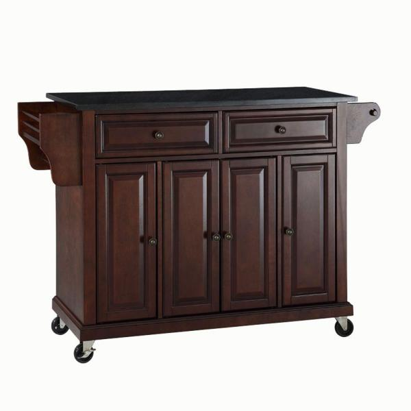 Full Size Mahogany Kitchen Cart with Black Granite Top
