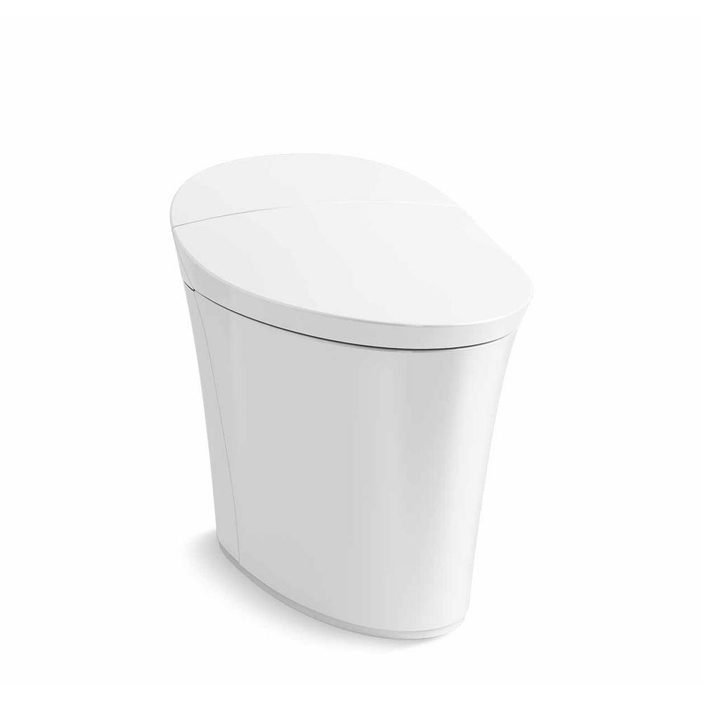 KOHLER Veil Comfort Height Intelligent 1-Piece 0.8 or 1.28 GPF Dual Flush Elongated Toilet in White Seat Included