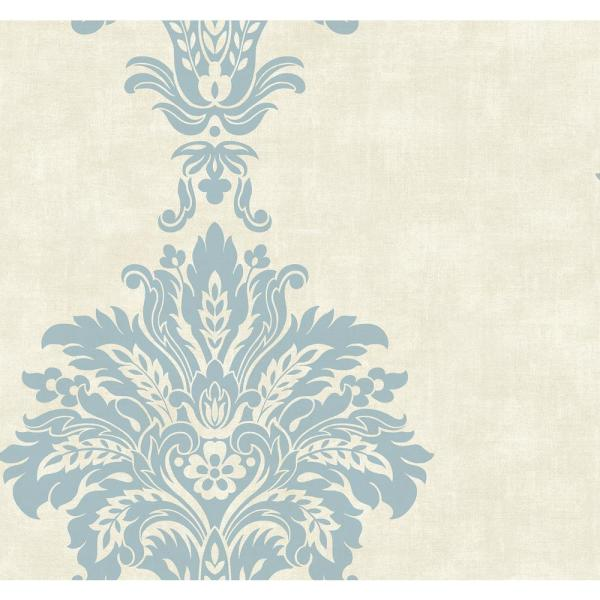 Seabrook Designs Hollywood Sky Blue And Off White Fanned Damask