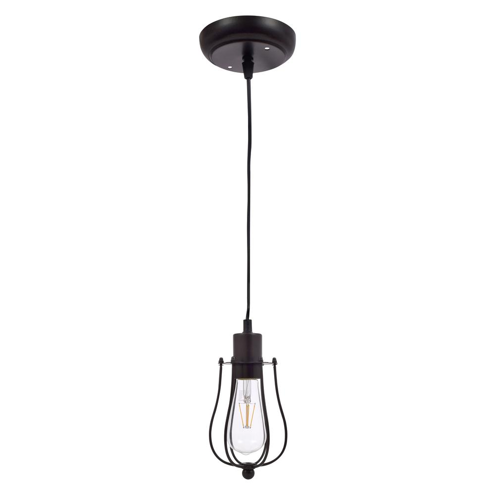 Sylvania Edison 1-Light Antique Black Ceiling Cage Pendant with Edison LED Light Bulb Included, California Only