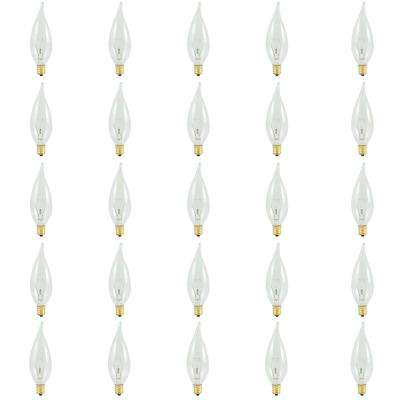 25-Watt CA10 Clear Dimmable Warm White Light Incandescent Light Bulb (25-Pack)