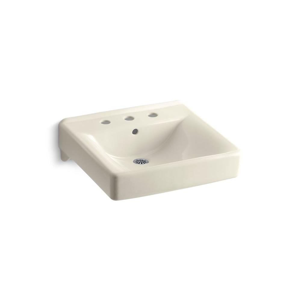 KOHLER Soho Wall-Mount Vitreous China Bathroom Sink in Almond with Overflow Drain
