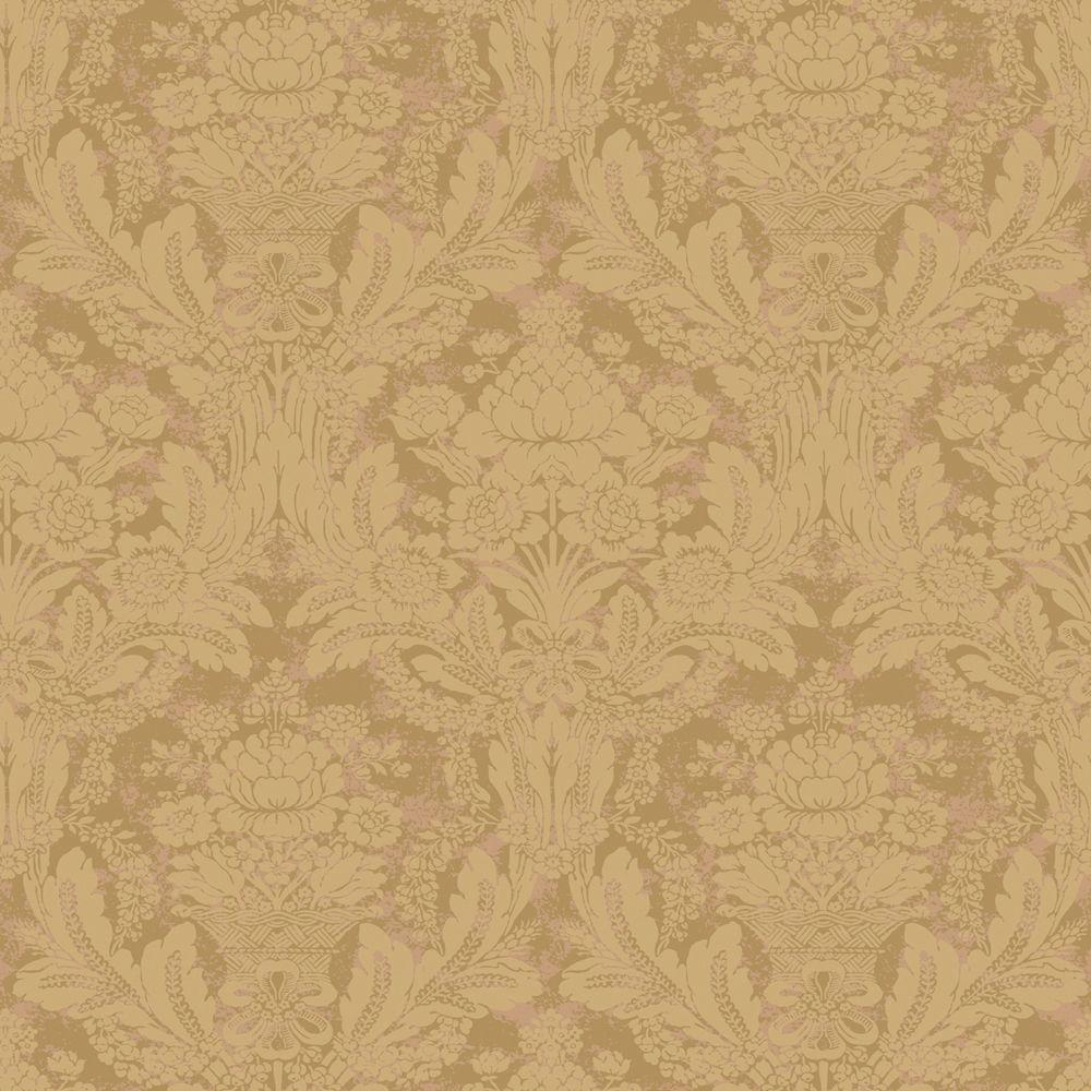 The Wallpaper Company 56 sq. ft. Beige Damask Wallpaper-DISCONTINUED