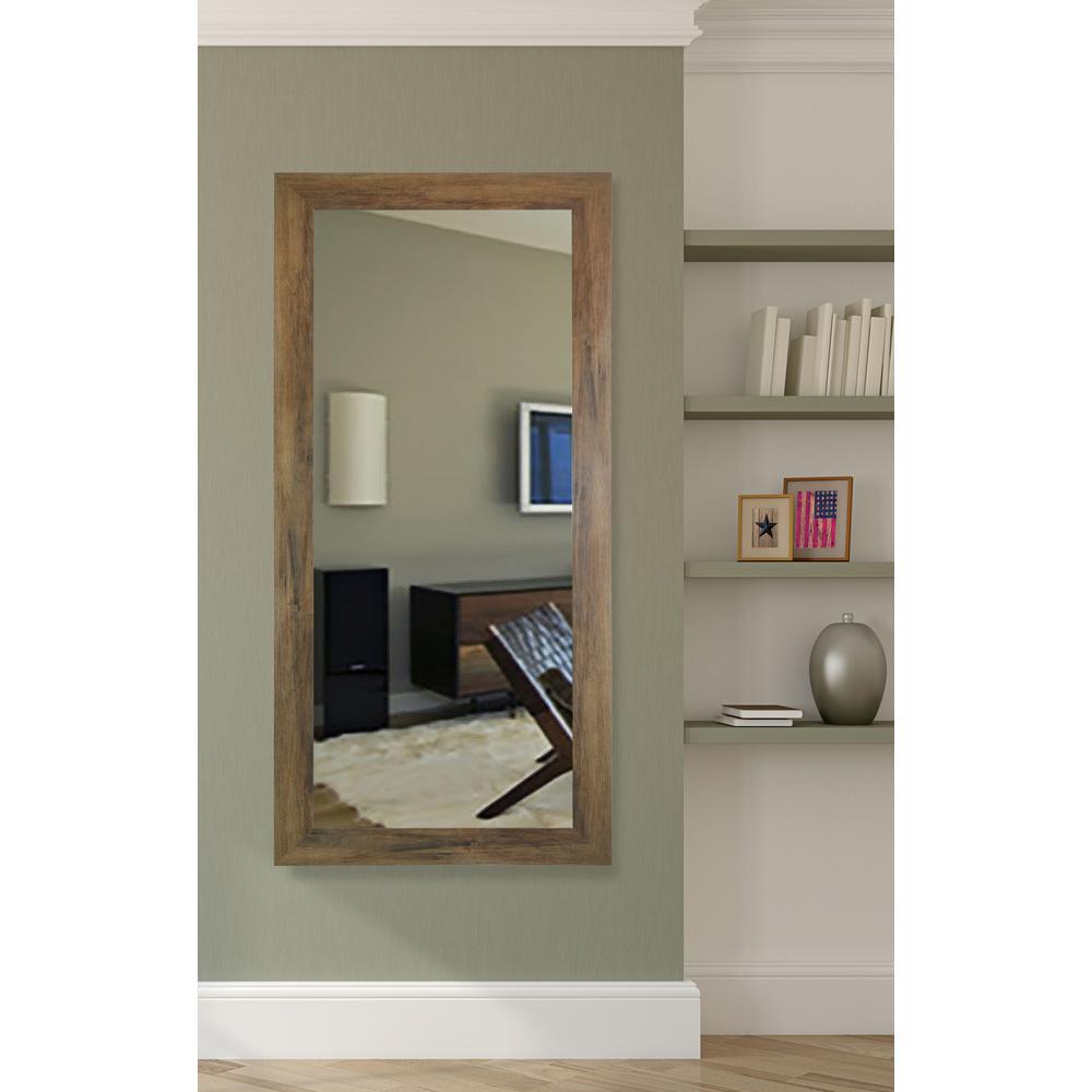 65.5 in. x 30.5 in. Brown Barnwood Beveled Vanity Wall Mirror