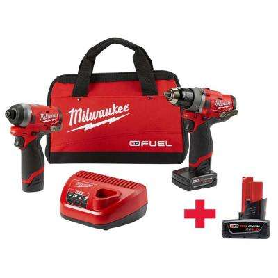 M12 FUEL 12-Volt Lithium-Ion Brushless Cordless Drill and Impact Driver Combo Kit (2-Tool) W/ Free M12 6.0Ah Battery