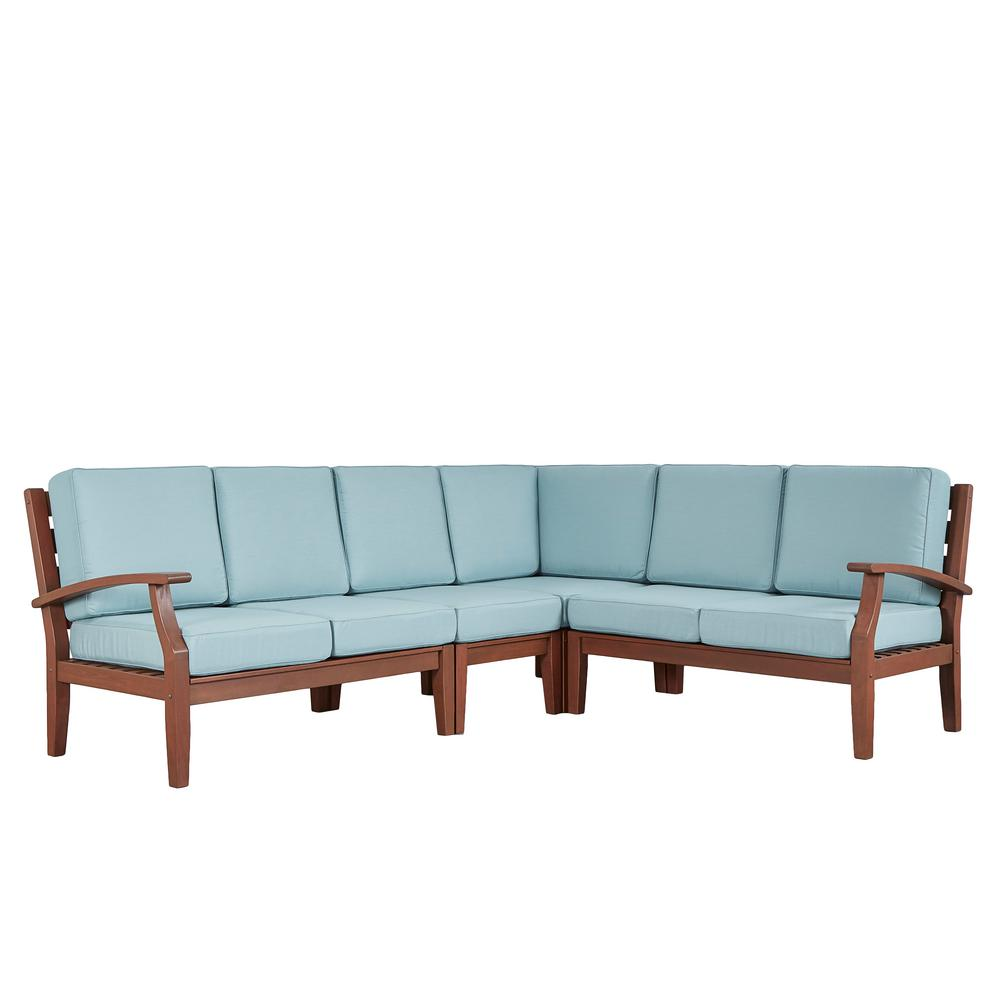 Verdon Gorge Brown 3-Piece Oiled Wood Outdoor Sofa with Sunbrella Blue