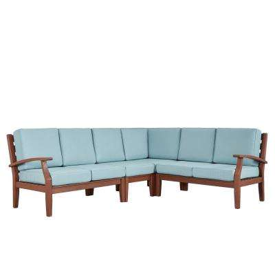 Verdon Gorge Brown 3-Piece Oiled Wood Outdoor Sofa with Sunbrella Blue Cushions