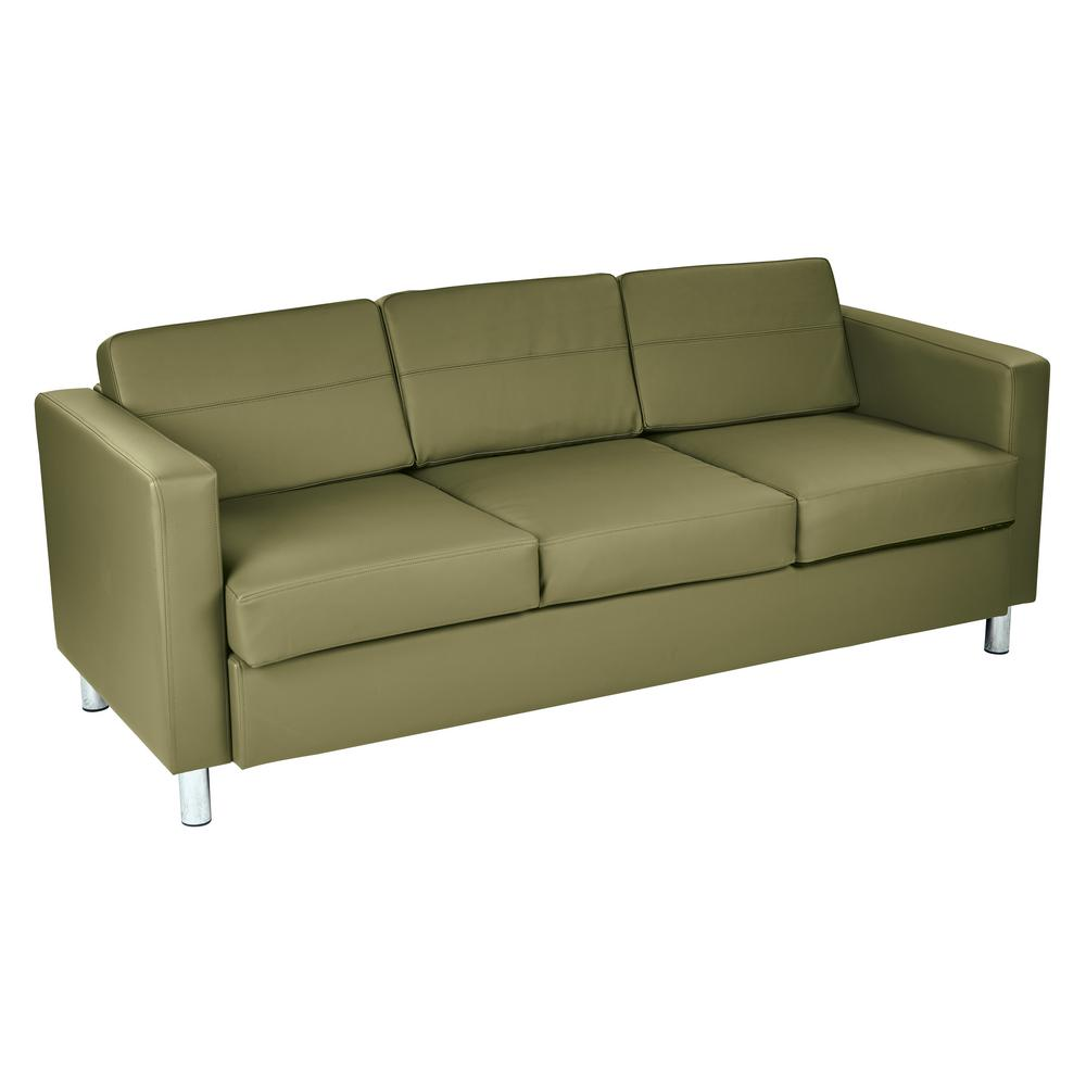 Osp Home Furnishings Pacific Dillon Sage Vinyl Sofa Couch With Box Spring Seats And Silver Color