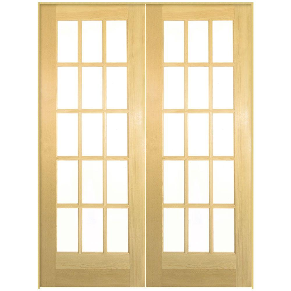 Masonite 72 in x 80 in 15 lite solid core smooth for Interior glass french doors