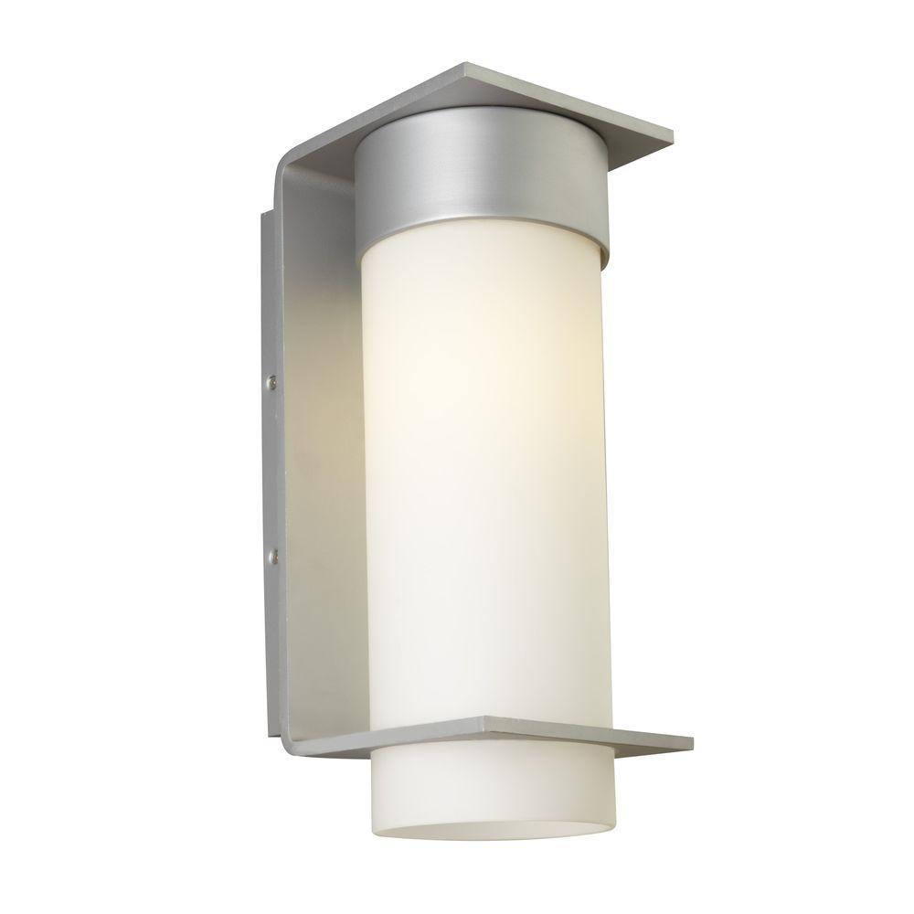 Palm Lane 1-Light Silver Outdoor Large Fluorescent Opal Wall Light