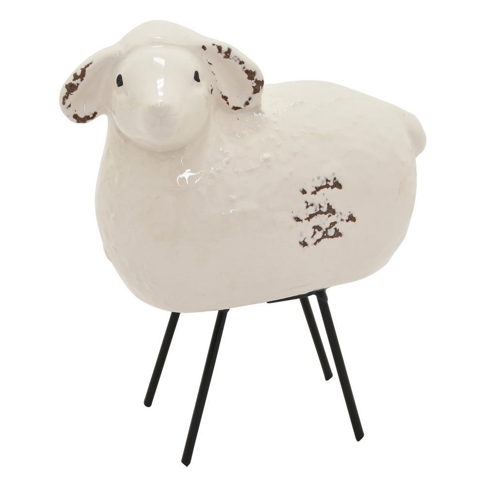 7 in. Ceramic Sheep Tabletop White