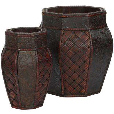 12.5 in. H Burgundy Design and Weave Panel Decorative Planters (Set of 2)