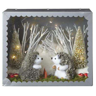 11 in. Lighted Hedgehog Diorama