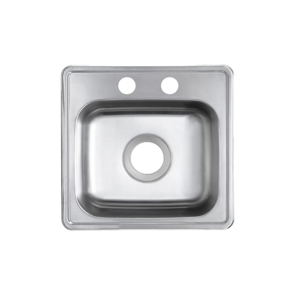 Drop-In 22-Gauge Stainless Steel 15 in. 2-Hole Single Bowl Bar Sink