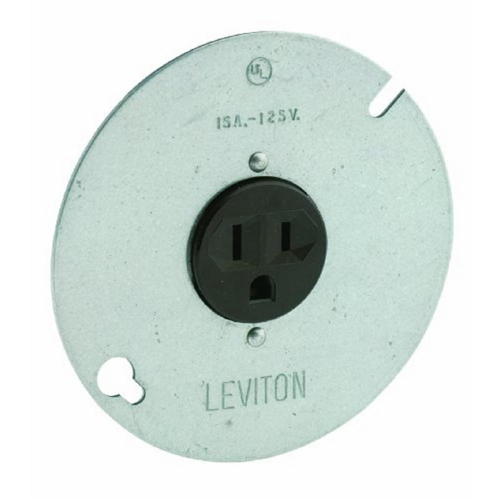 Leviton 15 Amp 125-Volt 3-Wire Round Type Single Outlet, Zinc Plated ...