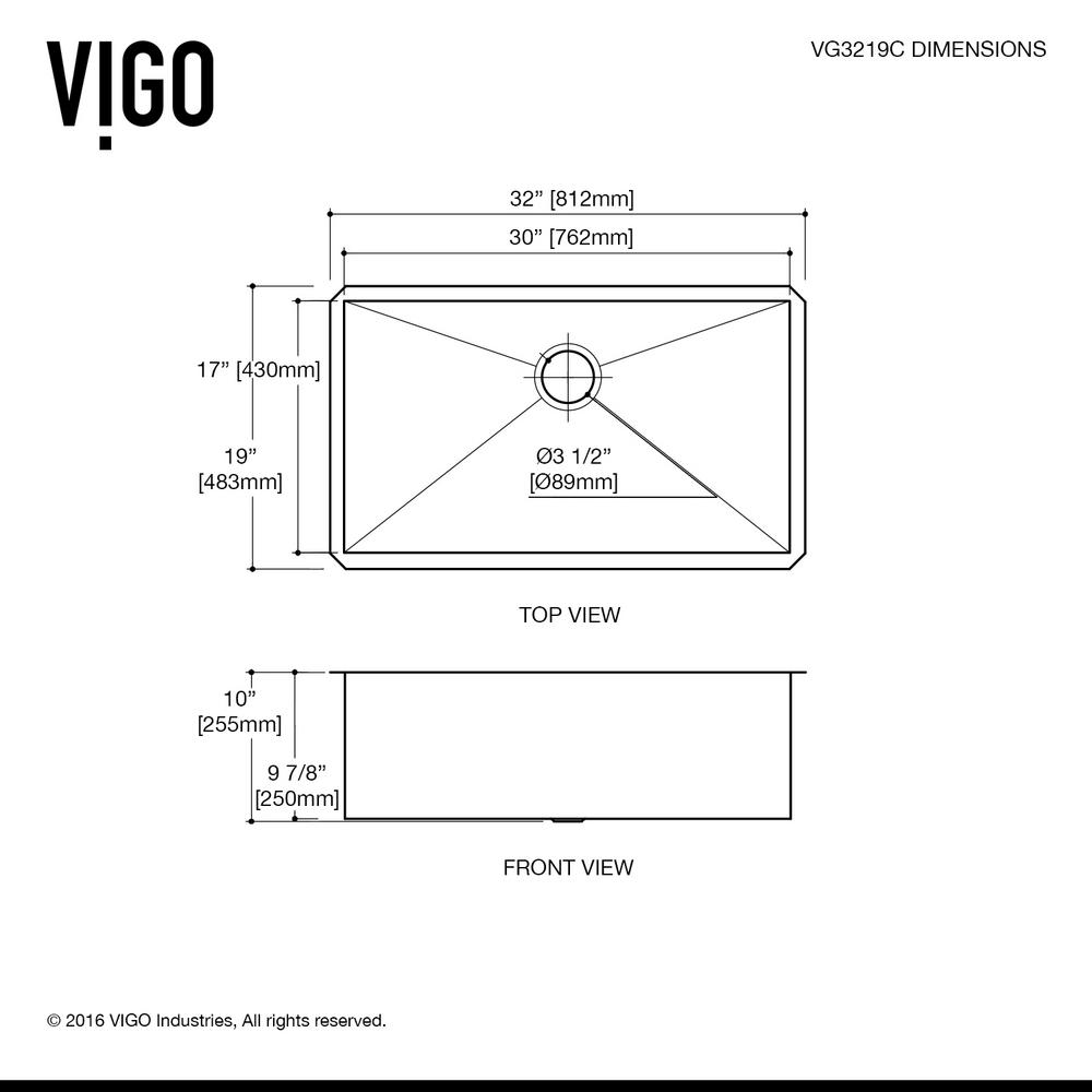 Vigo Undermount 32 In Single Bowl Kitchen Sink With Grid And Strainer Stainless Steel
