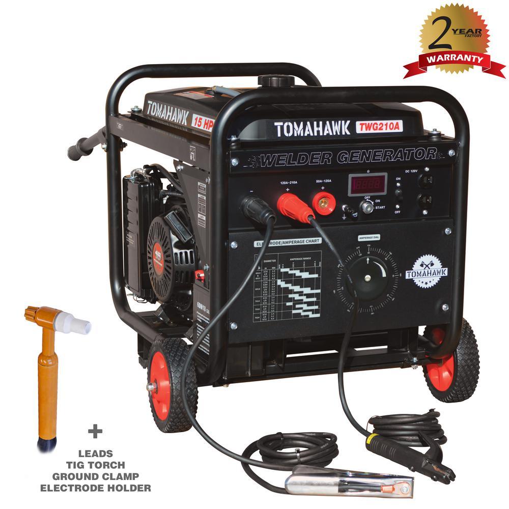 Tomahawk Power 210 Amp DC Multi Process MMA TIG Stick Welder Generator w/ 15 HP 2,000 Watt. Electric Start Inverter Engine Driven Welder