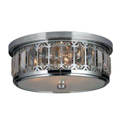 Parlour Collection 4-Light Chrome and Crystal Ceiling Light