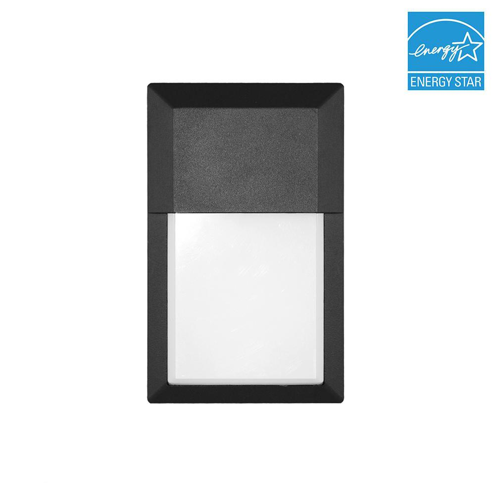 12-Watt Black Outdoor Integrated LED Wall Pack Light in Soft White