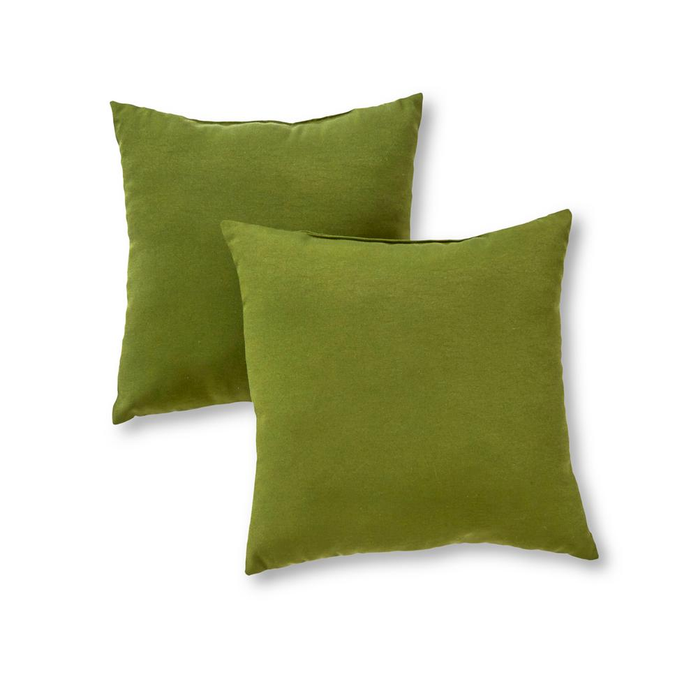 Greendale Home Fashions Solid Hunter Green Square Outdoor Throw Pillow (2-Pack)