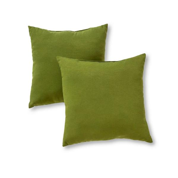 Solid Hunter Green Square Outdoor Throw Pillow (2-Pack)