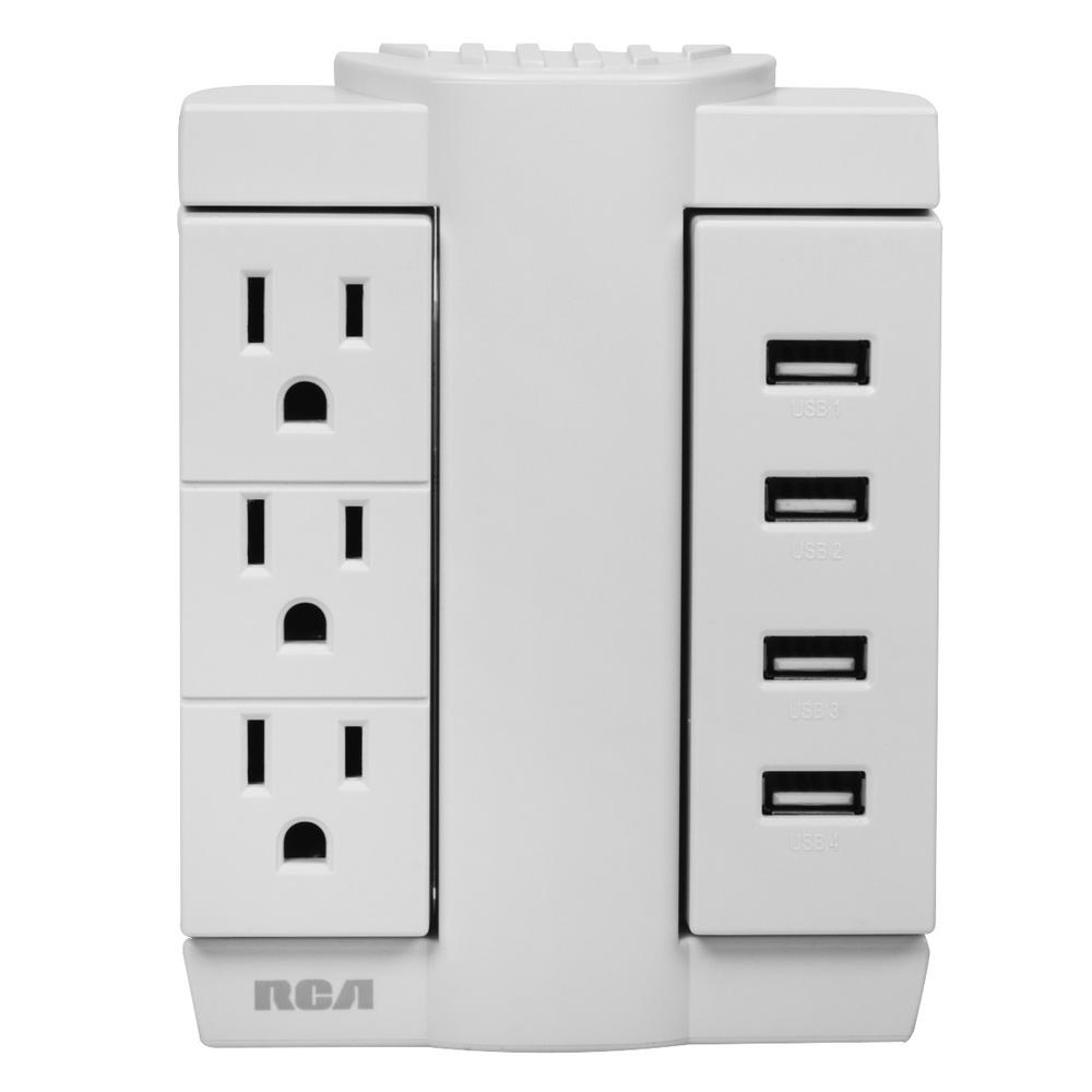 RCA 3-Outlet Swivel Wall Tap with 4-USB Ports
