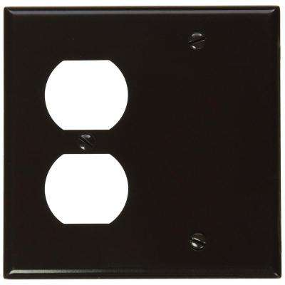 2-Gang Standard Size 1-Duplex Receptacle 1 No Device Blank Plastic Combination Wallplate, Brown