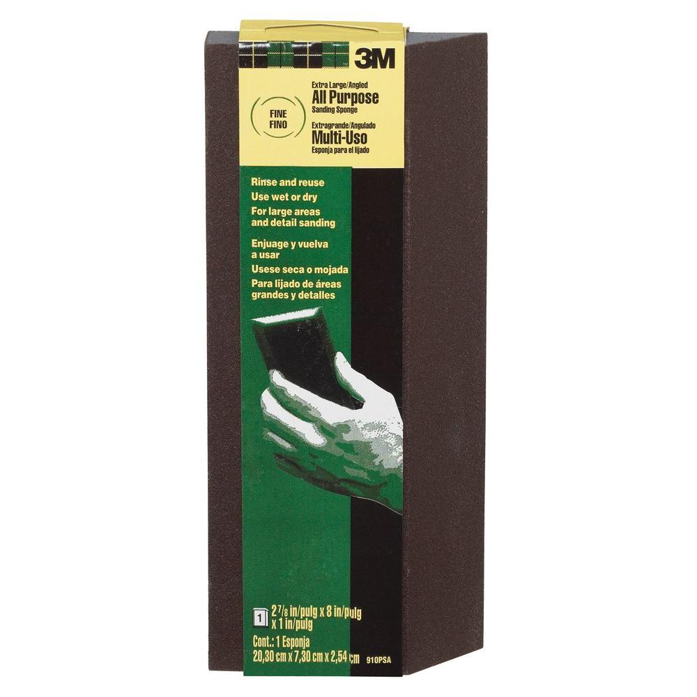 3M Pro-Pad 2.87 in. x 8 in. x 1 in. Fine and Medum-Grit Extra Large Single Angle Sanding Sponge