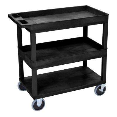 35.25 in. W x 18 in. D x 37.25 in. H 3 Tub Shelf Utility Cart with 5 in. Casters in Black