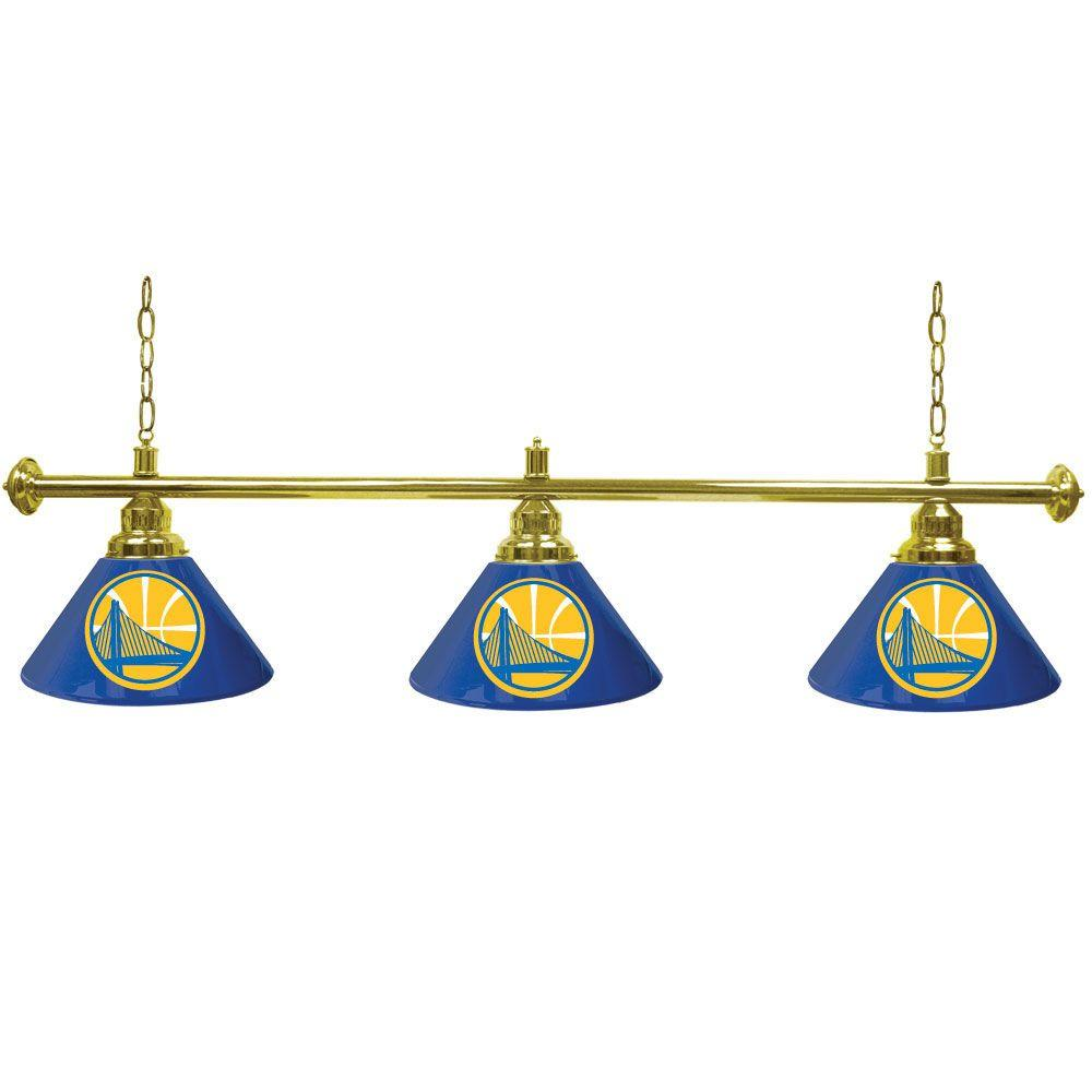 Trademark Golden State Warriors NBA 60 in. Three Shade Gold Hanging Billiard Lamp
