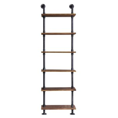 Verona Industrial Floating Silver Brushed Gray Pipe Wall Book Shelf with Walnut Wood
