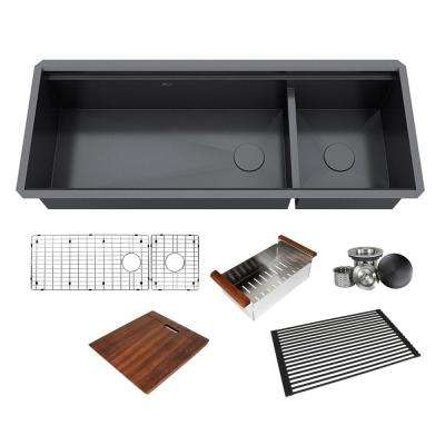 All-in-One Series Undermount Stainless Steel 48 in. Double Bowl Kitchen  Sink in Galaxy Black Finish w/ Accessories