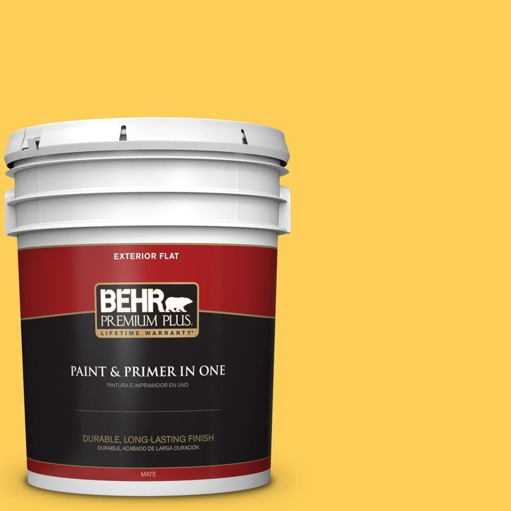 BEHR Premium Plus 5-gal. #330B-6 Lemon Sorbet Flat Exterior Paint