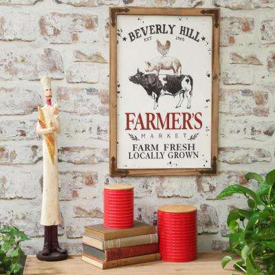 """22.50 in. x 16 in. """"Chicken, Pig And Cow"""" Printed Wall Art"""