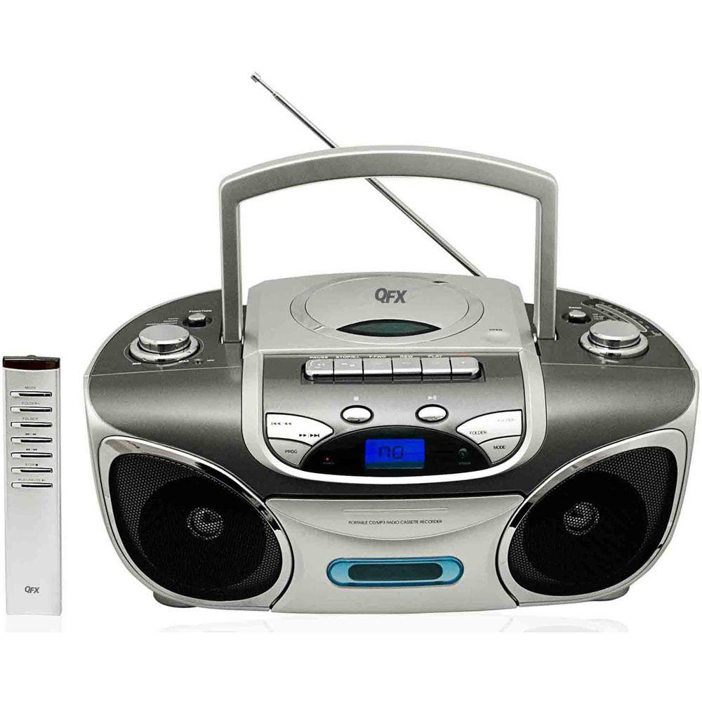 QFX Portable Stereo Radio with CD, MP3 and Cassette Player - Grey
