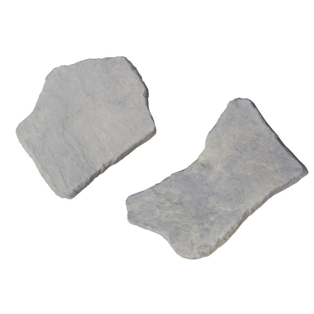 20 in. and 21 in. Irregular Concrete Blue Variegated Stepping Stones