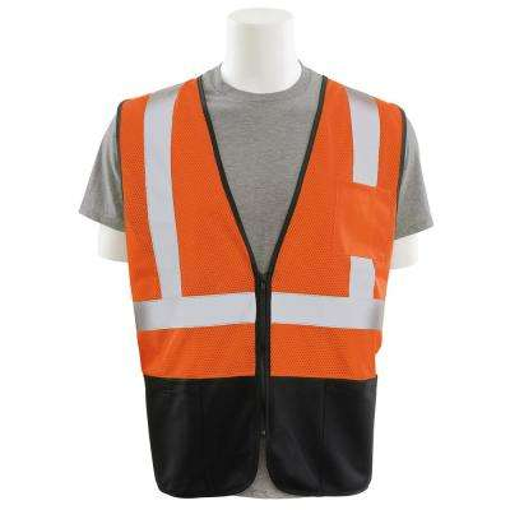 S363PB Large HVO/Black Polyester Mesh/Solid Bottom Safety Vest with Zipper