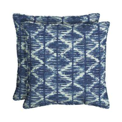 Sunbrella Chelston Cobalt Square Outdoor Throw Pillow (2-Pack)