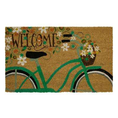 Welcome Bicycle 18 in. x 30 in. Coir Door Mat