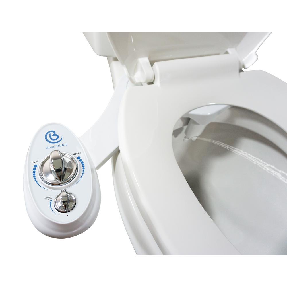 Non Electric Luxury Toilet Bidet Attachment Water Sprayer Dual Nozzle White And Blue Boss Bidet Luxury White The Home Depot