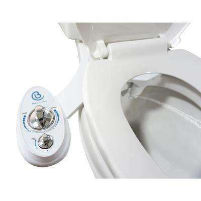 Non-Electric Luxury Toilet Bidet Attachment Water Sprayer Dual Nozzle White and Blue