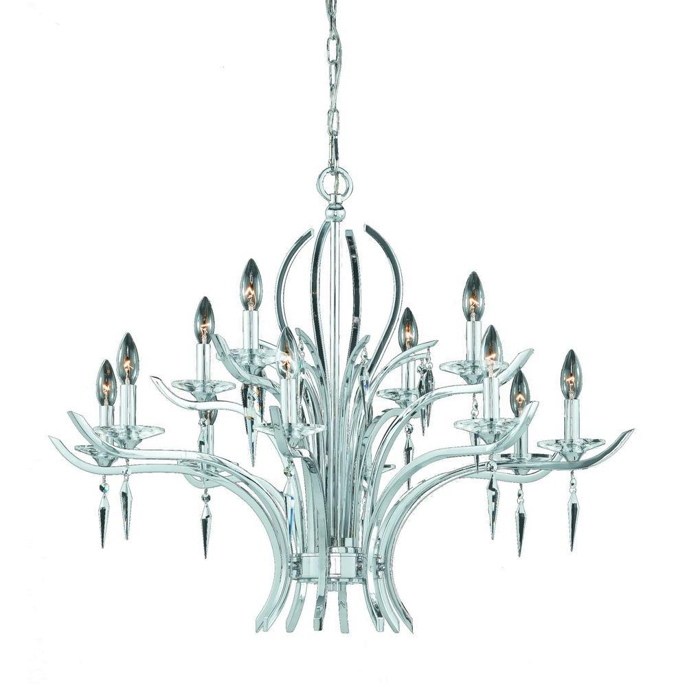 Illumine 12-Light Chrome Plated 2 Tier Chandelier with Crystal Drops Glass Shade