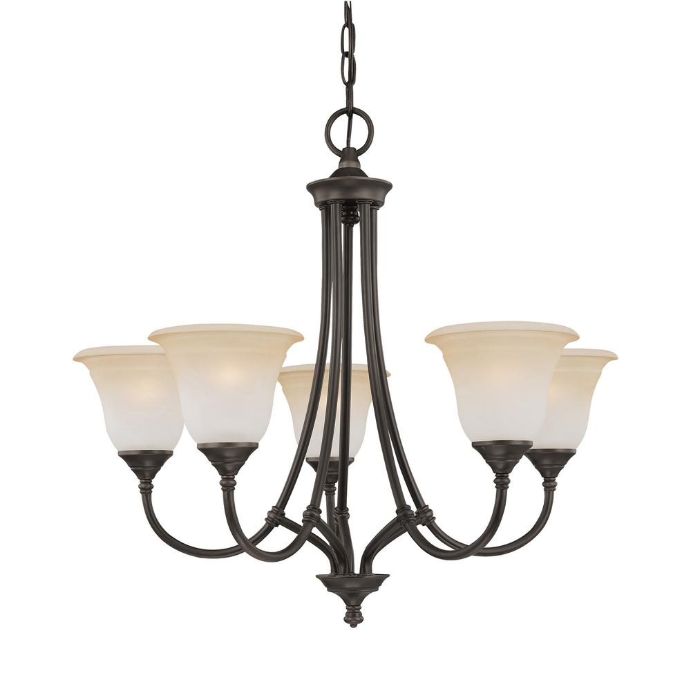 brand new c6128 77aaf Thomas Lighting Harmony 5-Light Aged Bronze Chandelier With Champagne  Marble Glass Shades