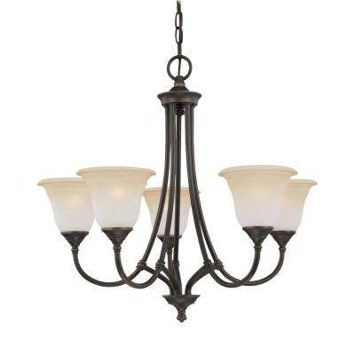 Harmony 5-Light Aged Bronze Chandelier With Champagne Marble Glass Shades