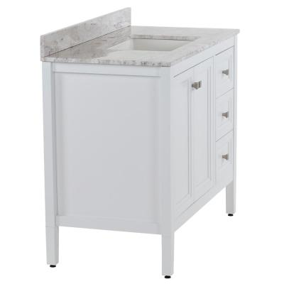 Darcy 43 in. W x 22 in. D Bath Vanity in White with Stone Effect Vanity Top in Winter Mist with White Sink