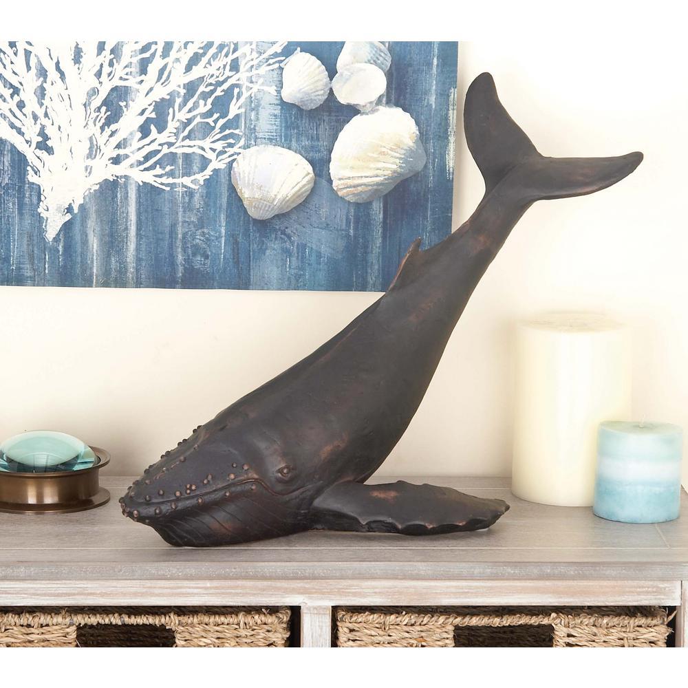 15 in. x 18 in. Decorative Whale Sculpture in Colored Polystone