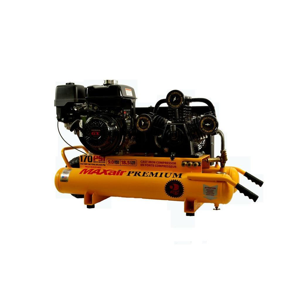 Maxair Premium Industrial 10 Gal. 9 HP GX270 Honda Twin Tank Wheelbarrow Air Compressor