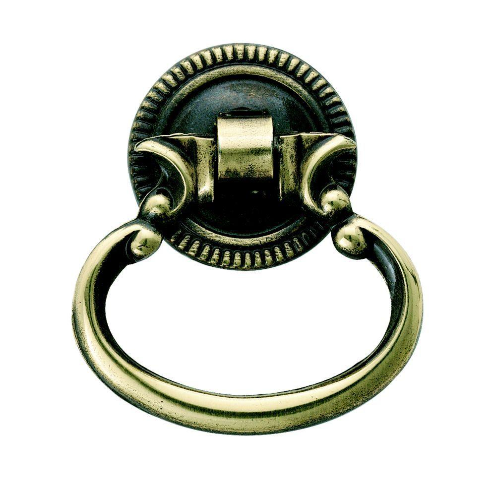 Superbe Amerock Classic Accent Antique English 1 In. Furniture Ring Pull In Antique  Brass