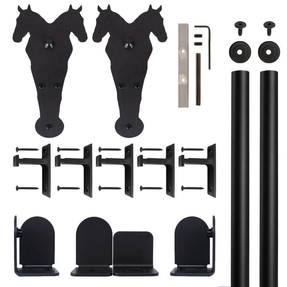 Double Horse Black Rolling Door Hardware Kit for 1-1/2 in. to