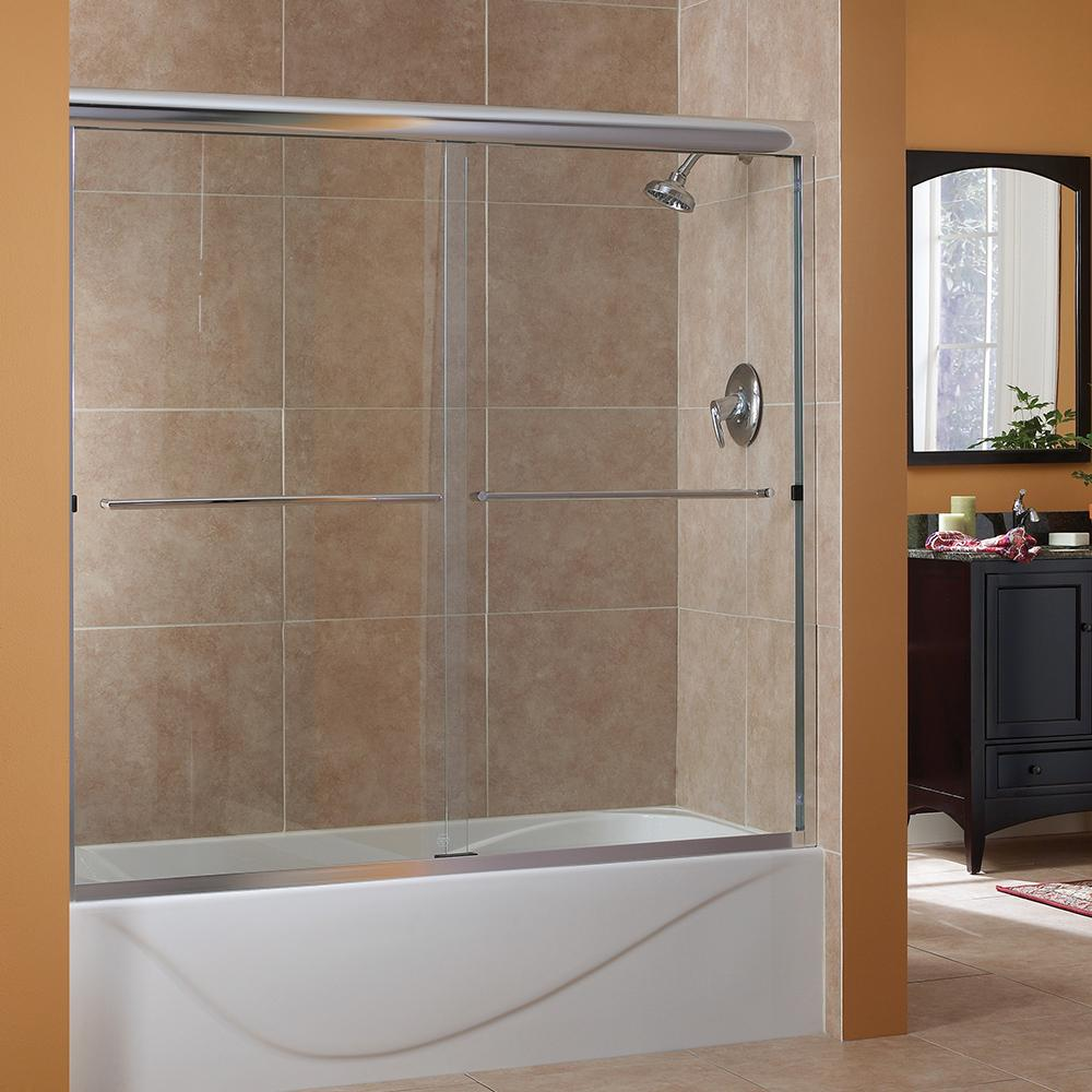 foremost cove 50 in to 54 in x 55 in semi framed sliding bypass tub shower door in silver. Black Bedroom Furniture Sets. Home Design Ideas